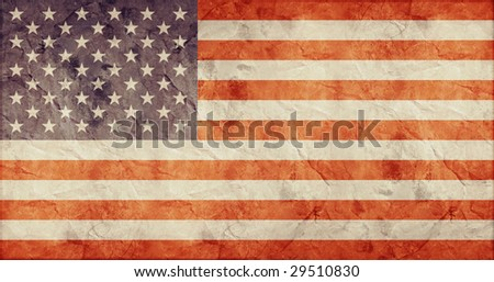 american flag on old paper