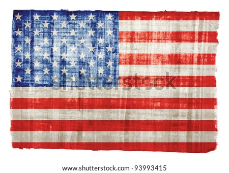 American flag on original papyrus background