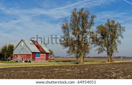 American flag painted on building in rural Illinois