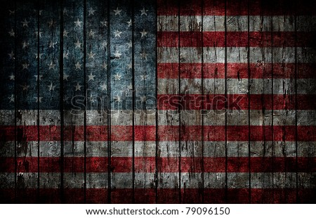 american flag painted on fence...