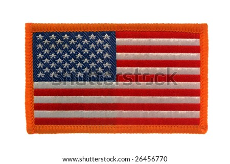 American flag patch isolated over white.
