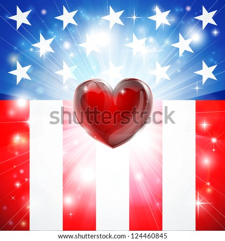 American flag patriotic background with heart, concept for love of country. Great for 4th of July or military themes.