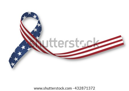 American flag pattern awareness ribbon isolated on white background for USA national support concept