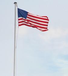 American Flag Pole Overcast Sky