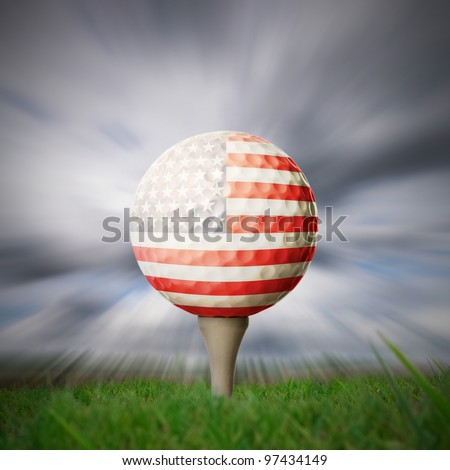 american flag printed onto golf ball on fairway