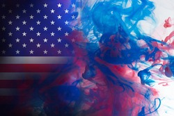 American flag, USA clouds mystic flags placed Thick colored silky abstract clouds flags