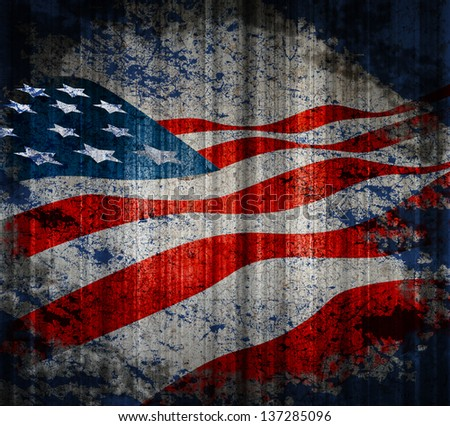 American flag vintage textured background.