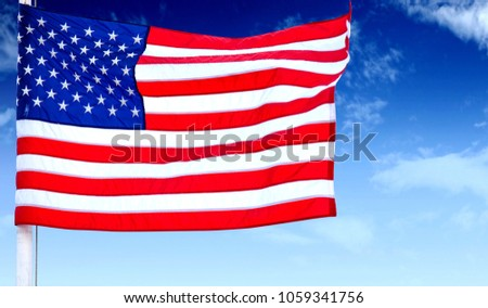 American flag with a sky. #1059341756