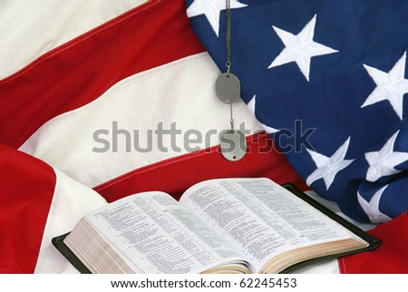 American Flag with Bible - stock photo
