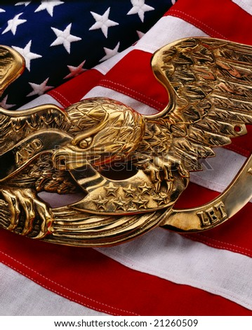 American flag with gold eagle symbol on top