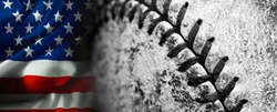 American Flag with old worn baseball with leather texture game sports competition