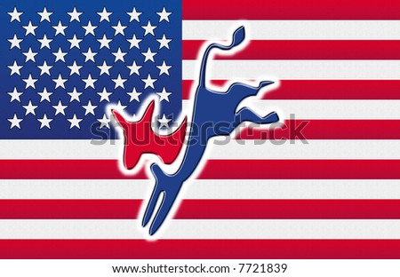 American flag with the democratic party's donkey on it - stock photo