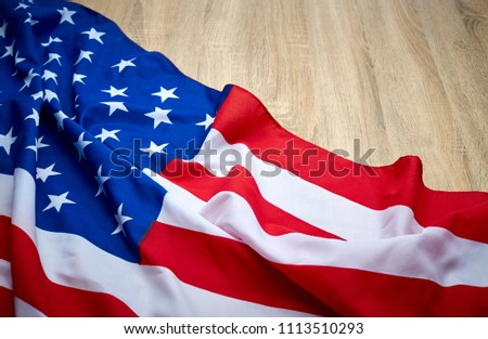 American flag wooden background.The Flag Of The United States Of America. The place to advertise, template.The view from the top. #1113510293