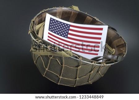 American flag ww2 helmet