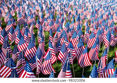 American flags on display for Memorial Day or July 4th