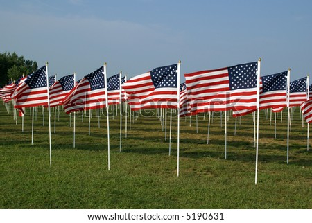 American Flags on the Floyd Bennett Field commemorating victims of the September 11, 2001 attacks