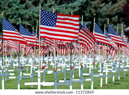American flags with white crosses.