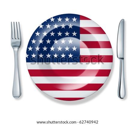 American food fork plate knife isolated U.S.A. flag cuisine
