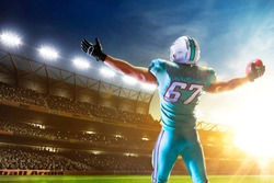 American football. American football player in professional sport arena.