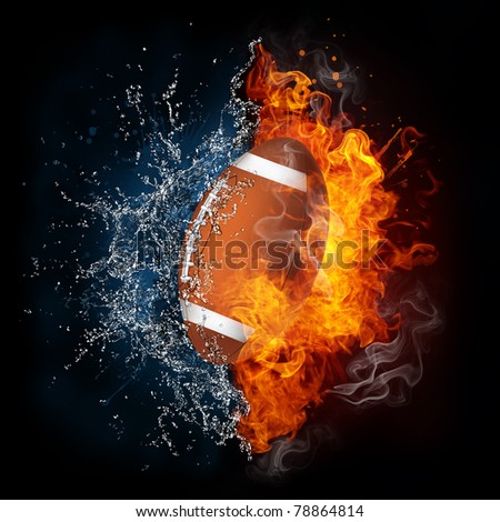 American football ball in fire and water. Illustration of the American football ball in elements isolated on black. American football ball in fire and water image for American football game poster.
