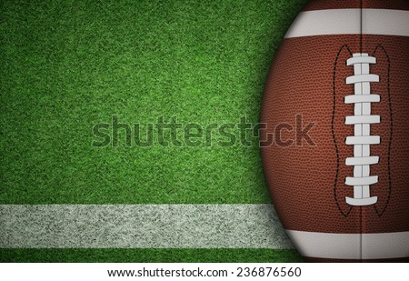American football ball on green grass and white line. with lots of copy space.