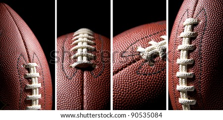 American football ball over a black background, collage