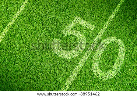 American football field on green grass
