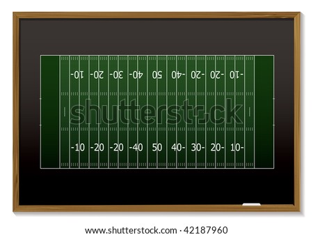 American football field with chalk markings on black board