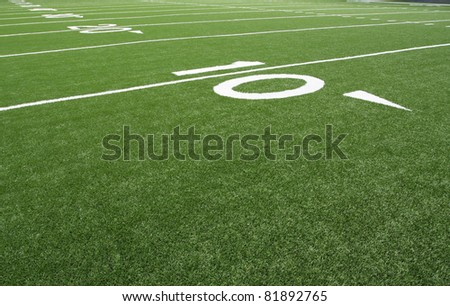 American Football Field Yard Lines at the Fifty