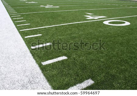American Football Field Yard Lines at the Forty