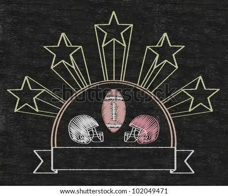 american football five stars vintage blank banner written on blackboard background high resolution, easy to use