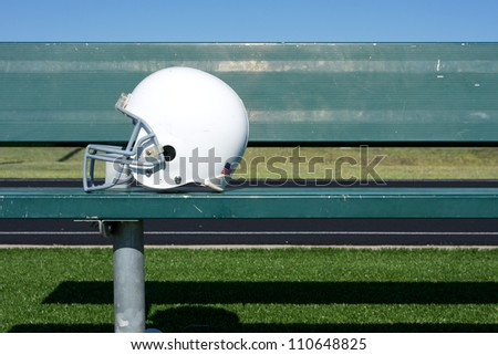 American Football Helmet on the Bench with room for copy