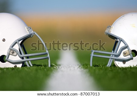 American Football Helmets Faced Off with Shallow Depth of Field