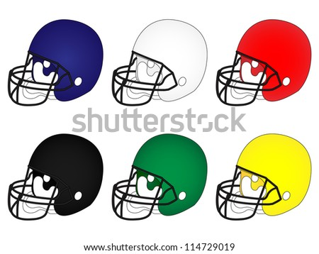 American Football Helmets in Different Colours