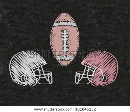 American football Helmets written on blackboard background high resolution, easy to use