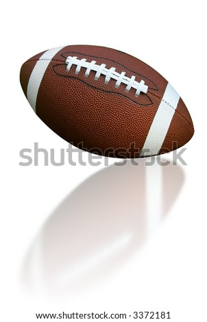 American football isolated over a white background with a reflection