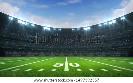 American football league stadium with white lines and fans, daytime side field view, sport building 3D professional background illustration