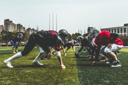 American football line of scrimmage, ground view