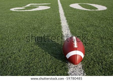 American Football near the Fifty Yard Line