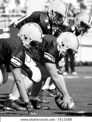 American Football, Offensive Linemen, Concept: Move Forward, Hike the Ball Black and white photo