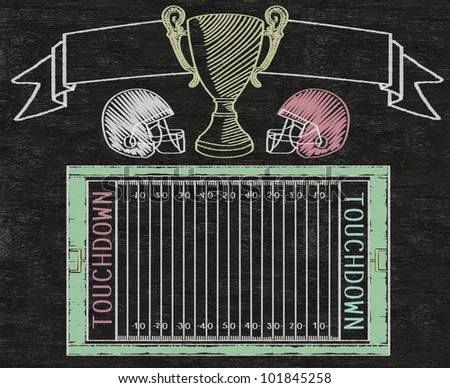 American football on banner and color line match written on blackboard background high resolution, easy to use - stock photo