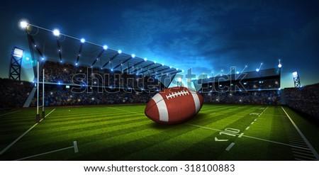 American Football on light of american football stadium