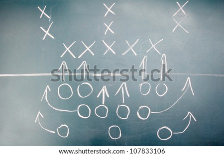American football plan on blackboard