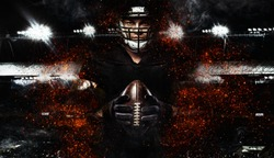 American football player, athlete in helmet with ball on black background. Sport wallpaper with copyspace.