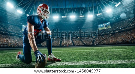 American football player on a professional sport arena