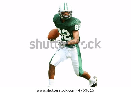 American football player running with ball, isolated.