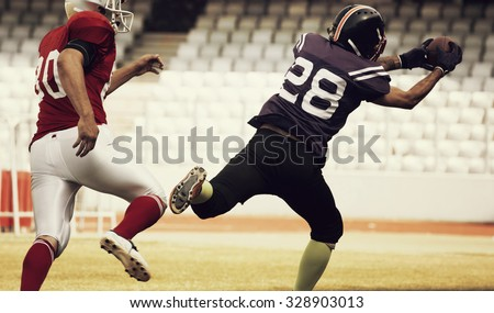American football player running with the ball - retro styled photo