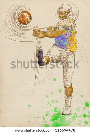 """American football player, winning kickoff. Full-sized (original) hand drawing (useful for """"live trace"""" converting for the vector image - and others). Technique: digital tablet."""