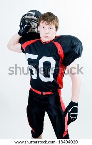 American football player with helmet, studio isolated