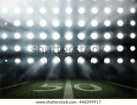 American football stadium in lights and flashes in 3d